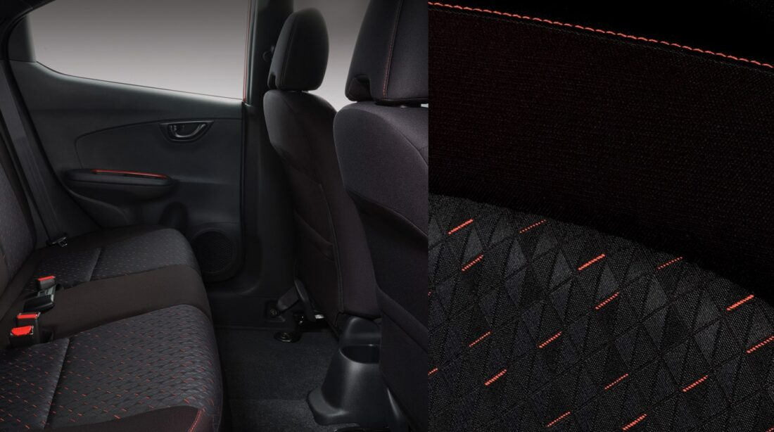 Black Fabric Seats with Orange Stitching (For RS Black Top CVT and RS CVT variants only)