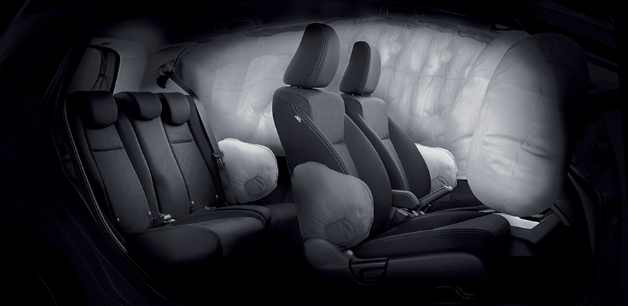 Driver and Front Passenger  Airbags / Side and Side Curtain Airbags (*1.5 RS Navi CVT variant only)